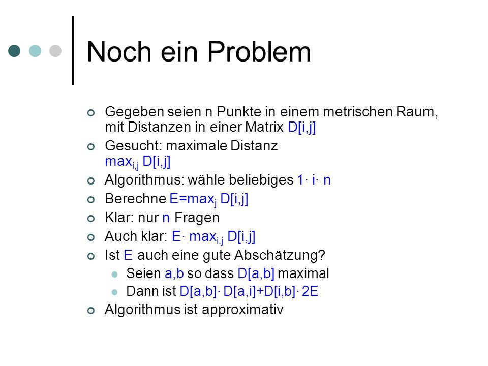 Noch ein Problem Gegeben seien n Punkte in einem metrischen Raum, mit Distanzen in einer Matrix D[i,j]